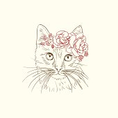 Pen and ink illustration of cat in flower diadem