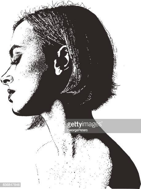 Pen and ink style Portrait of beautiful young woman