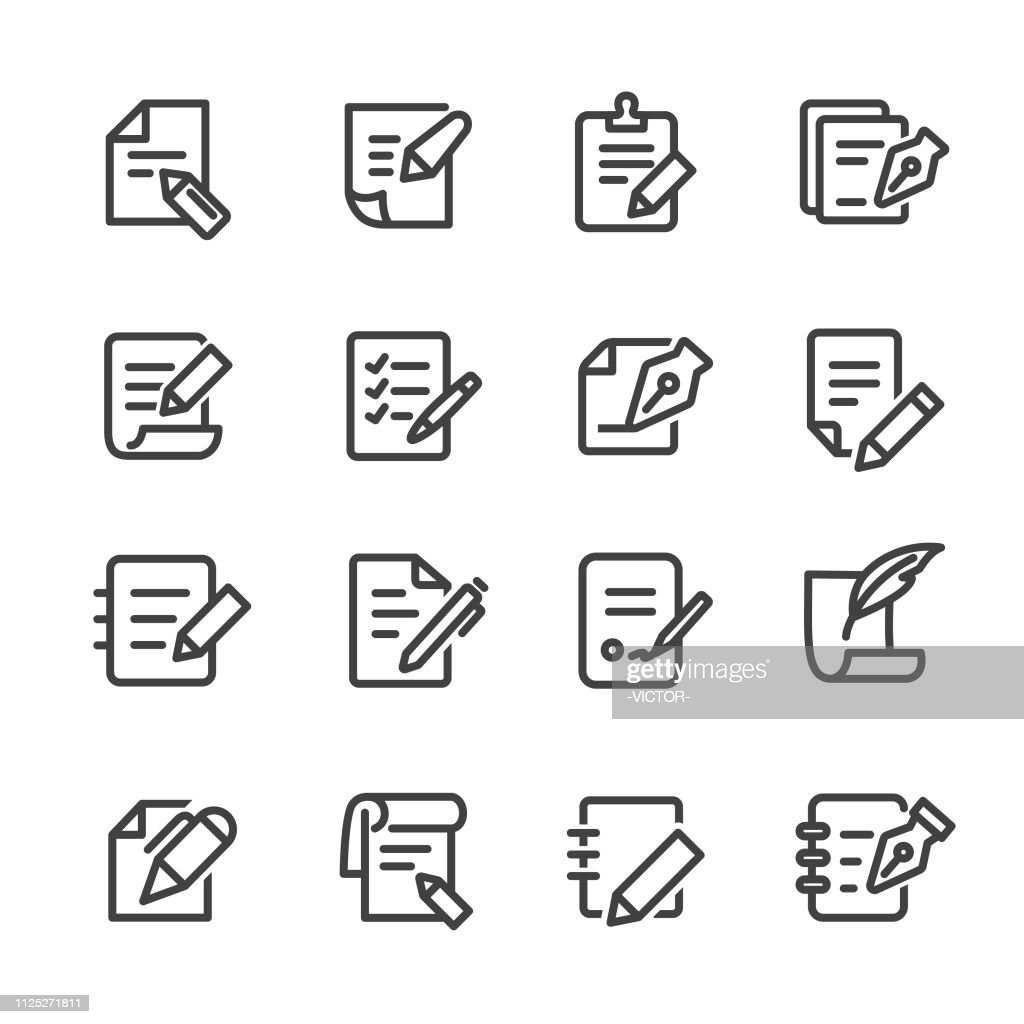 Pen and Paper Icons - Line Series : stock illustration