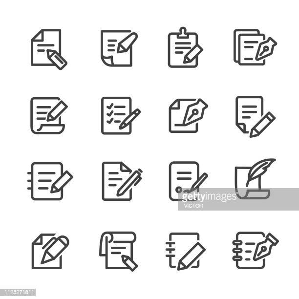pen and paper icons - line series - legal document stock illustrations, clip art, cartoons, & icons