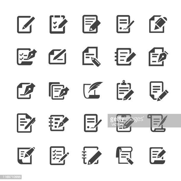pen and paper icons - smart series - exercise book stock illustrations