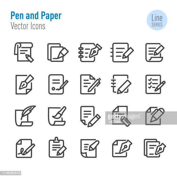 pen and paper icons - vector line series - exercise book stock illustrations