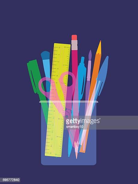 pen and pencil holder - desk organizer stock illustrations, clip art, cartoons, & icons