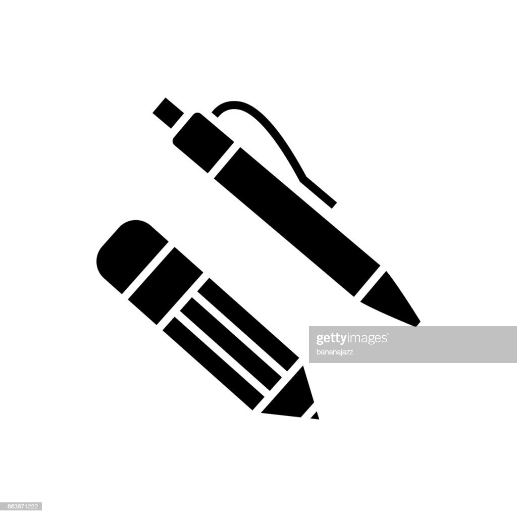 pen and pencil icon, vector illustration, black sign on isolated background