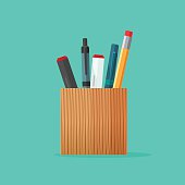 Pen and pencil stationery wooden holder design isolated