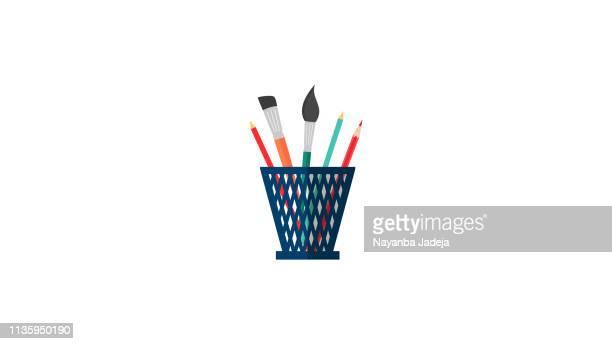 pen box icon - pencil case stock illustrations