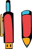 Pen gun icon cartoon