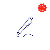 Pen Line Icon with Editable Stroke and Pixel Perfect.