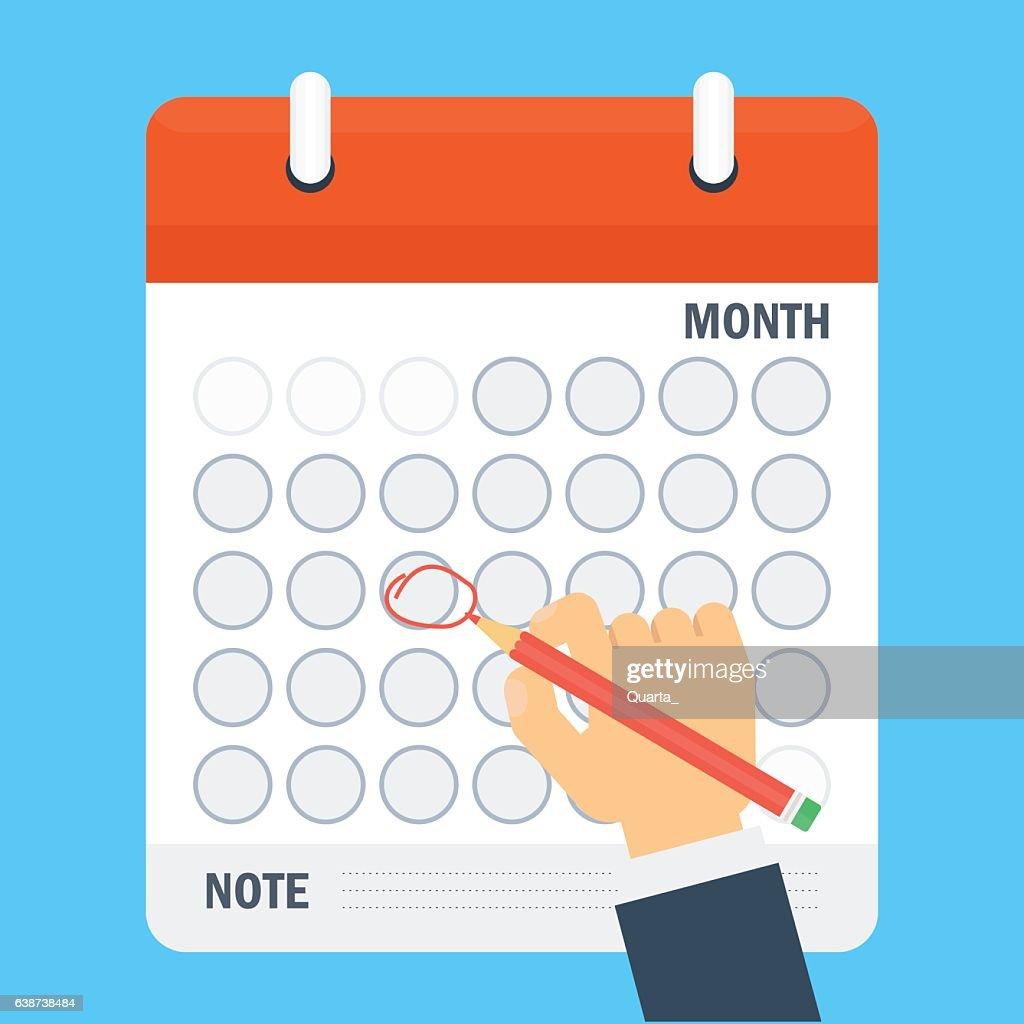 pen mark calendar