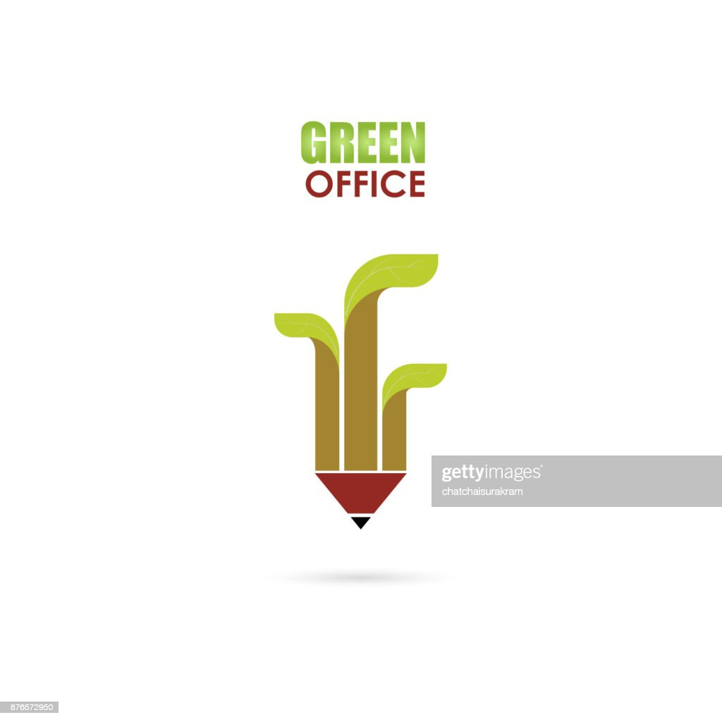 Pen or Pencil sign and green leafs icon vector  design template.Green Office Template Design.Green office idea concept.Design for greeting Card or Poster