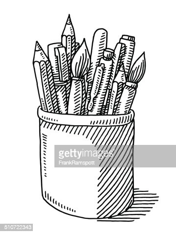 Pen Pencil Paint Brush Tin Drawing Stock Vector Getty Images