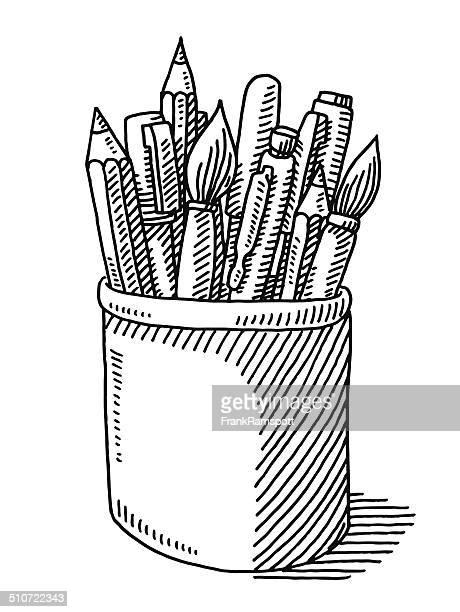 pen pencil paint brush tin drawing - desk organizer stock illustrations, clip art, cartoons, & icons