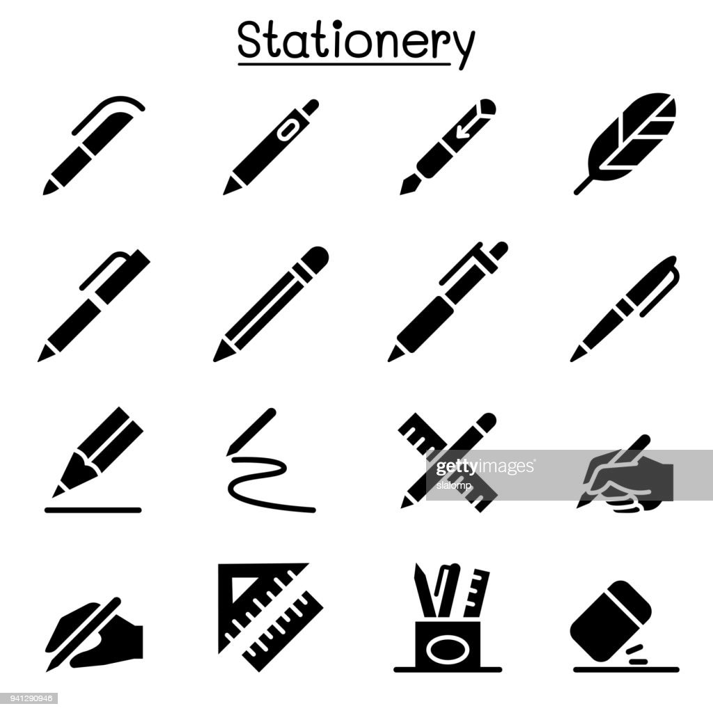 Pen, Pencil, Stationery icon set vector illustration graphic design