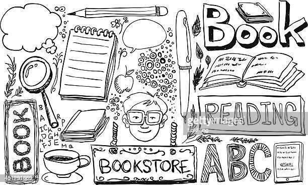 ilustrações, clipart, desenhos animados e ícones de elemento de desenho de estudo - livraria