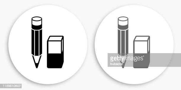 Pencil and Eraser Black and White Round Icon