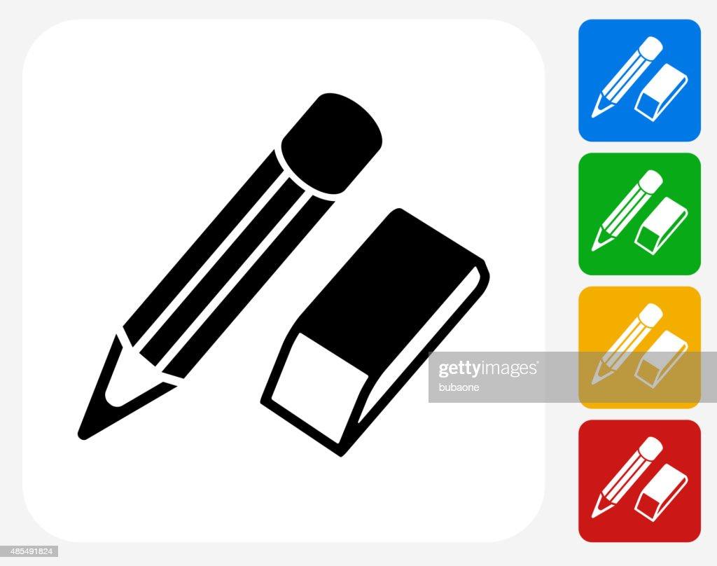 pencil and eraser icon flat graphic design vector art