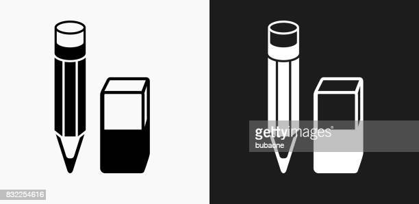 Pencil and Eraser Icon on Black and White Vector Backgrounds