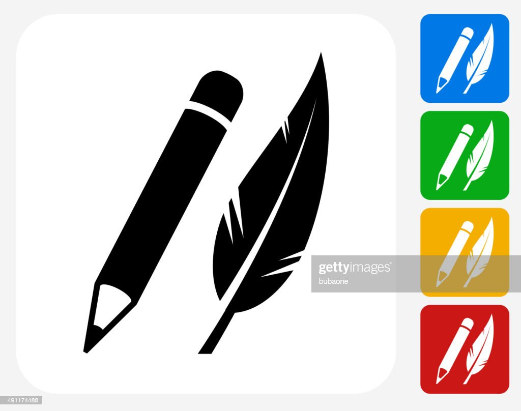 Pencil and Feather Icon Flat Graphic Design
