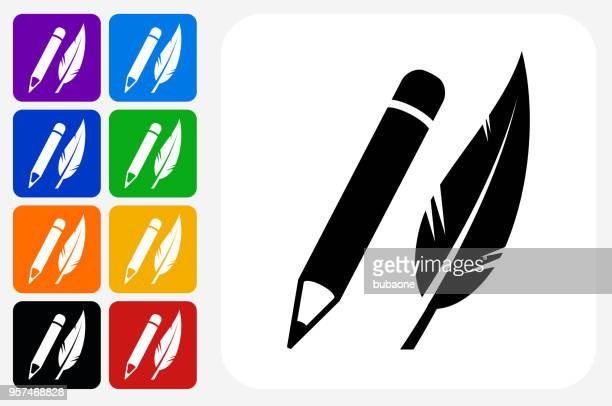 Pencil and Feather Icon Square Button Set