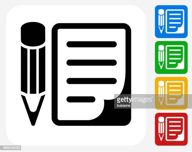 Pencil and Paper Icon Flat Graphic Design
