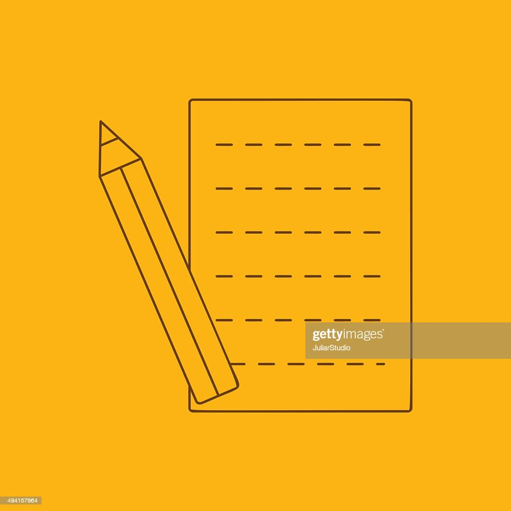 Pencil and sheet line icon