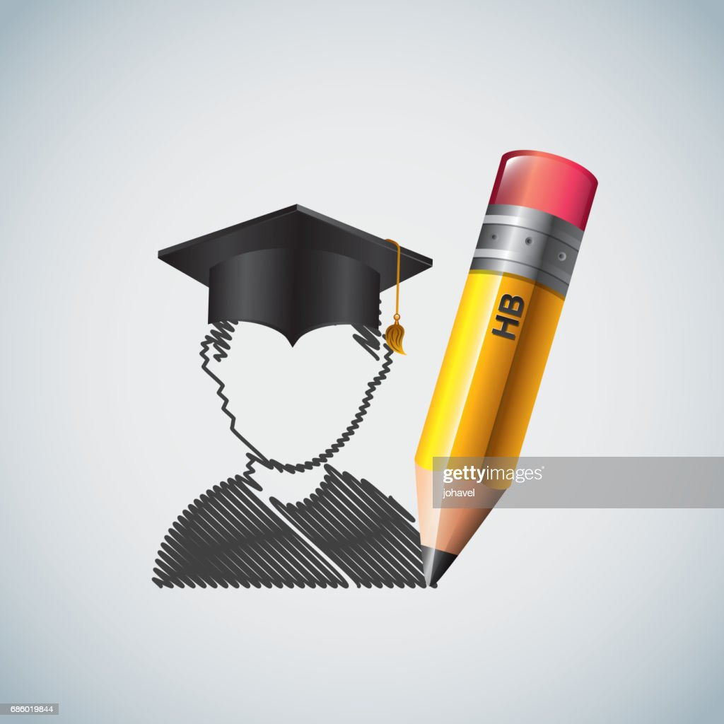 Pencil and student icon. Study and instrument design. Vector gra