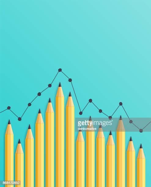 pencil bar chart - accountancy stock illustrations