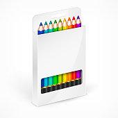 Pencil boxes Color vector illustration