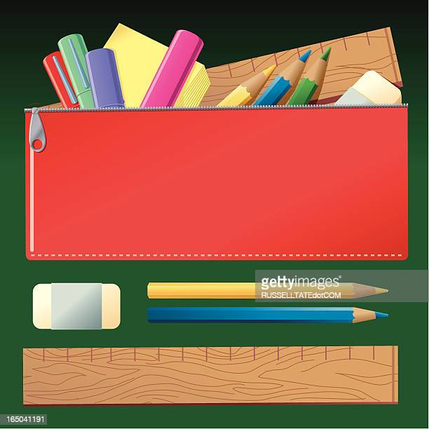pencil case - pencil case stock illustrations