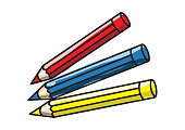 pencil, crayons, cartoon, red, blue and yello