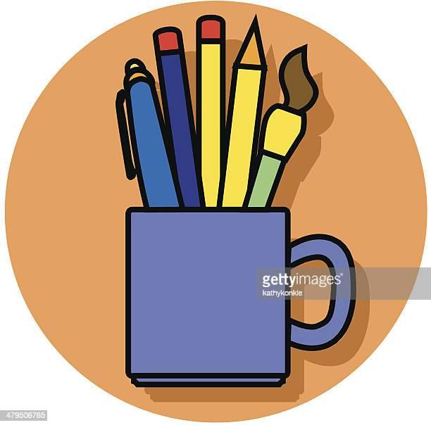 pencil cup icon - desk organizer stock illustrations, clip art, cartoons, & icons