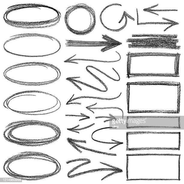 pencil drawing. arrows and different shapes. - arrows circle stock illustrations
