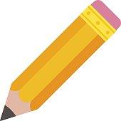 Pencil eraser. Orange graphite pencil with pink eraser on top