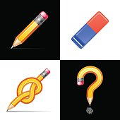 Pencil, eraser. Question and knot symbol made of pencil. Vector illustration