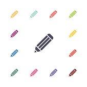pencil flat icons set