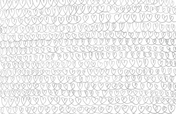 pencil hearts chains background pattern - heart shape stock illustrations