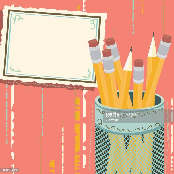 Pencil holder with blank notecard
