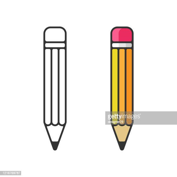鉛筆アイコン。消しゴムペンフラットとアウトラインデザインと白い背景に学校の概念に戻る。 - 鉛筆点のイラスト素材/クリップアート素材/マンガ素材/アイコン素材