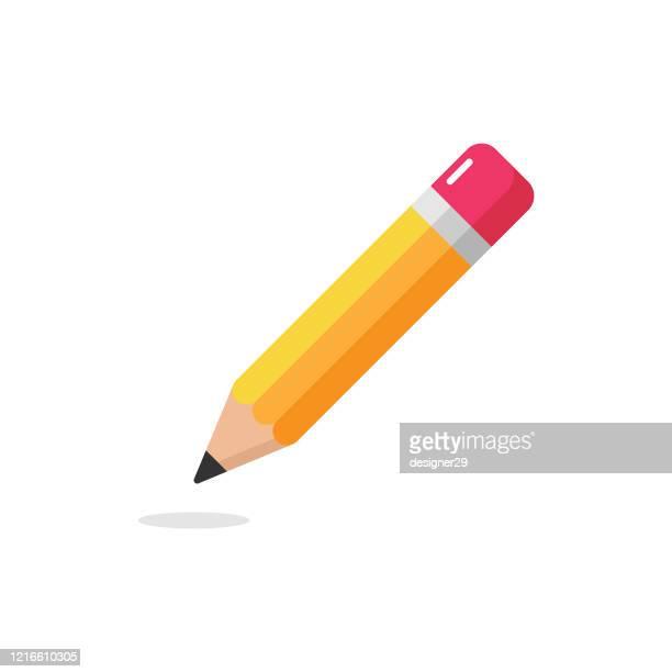 bleistift-symbol. eraser pen flat design und zurück zur schule konzept auf weißem hintergrund. - bleistift stock-grafiken, -clipart, -cartoons und -symbole
