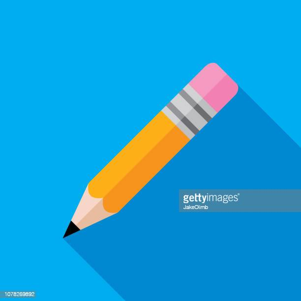 pencil icon flat - pencil stock illustrations, clip art, cartoons, & icons