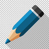 Pencil icon in a flat style with a long shadow on a transparent background