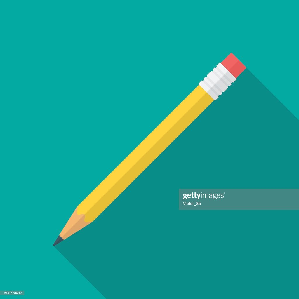Pencil icon with long shadow.