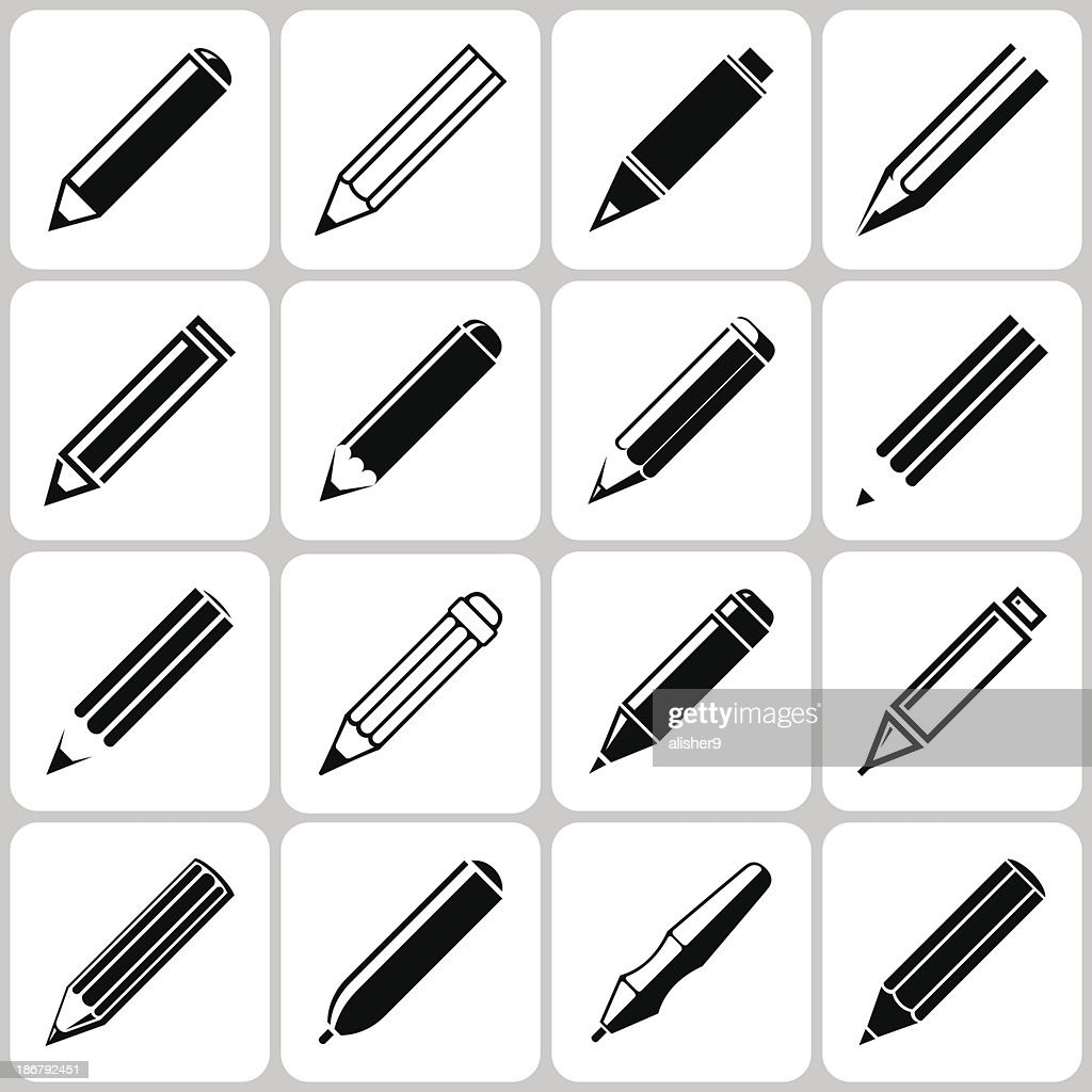 pencil icons set