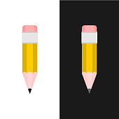 Pencil isolated. Vertical pencil in flat style design.