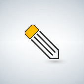Pencil line icon on a white background
