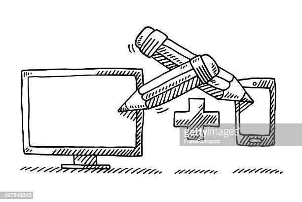 Pencil PC Monitor Smart Phone Drawing