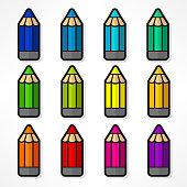 Pencil set Color vector illustration