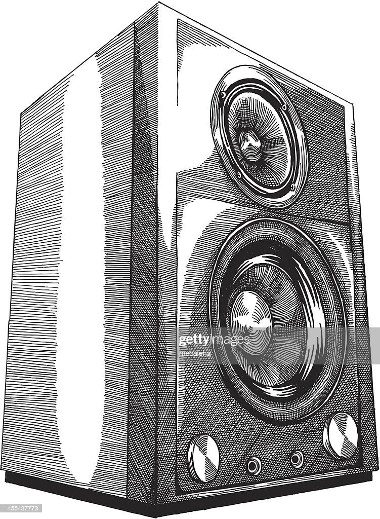 a pencil sketch of speakers on a white background vector