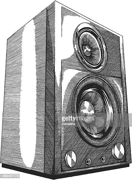 a pencil sketch of speakers on a white background - audio equipment stock illustrations, clip art, cartoons, & icons