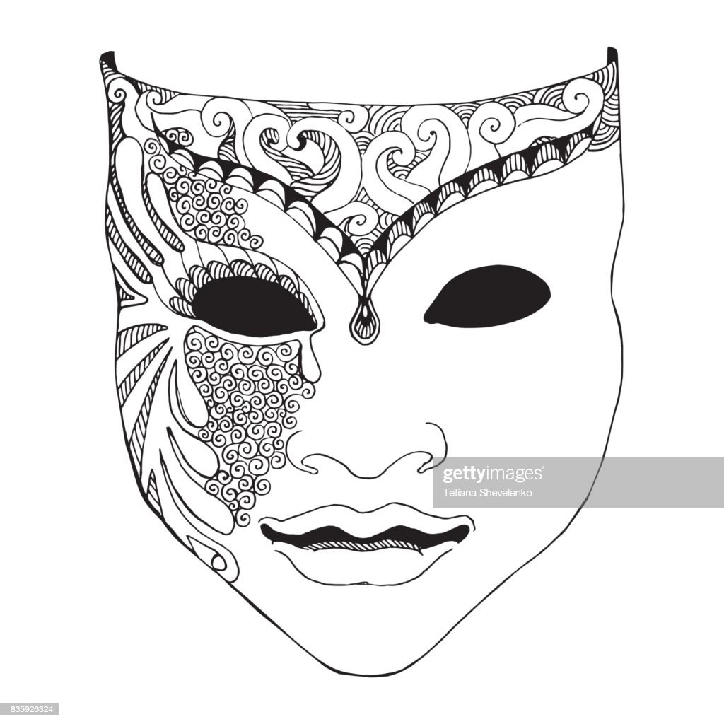 Pencil sketch of Venetian mask, carnival costume. Outline hand draw. Vector illustration